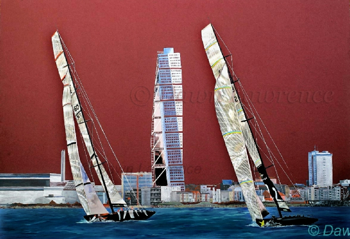 K Challenge vs Victory Challenge, Act 8 Malmo, 2005 America's Cup mixed media painting by Dawn Lawrence