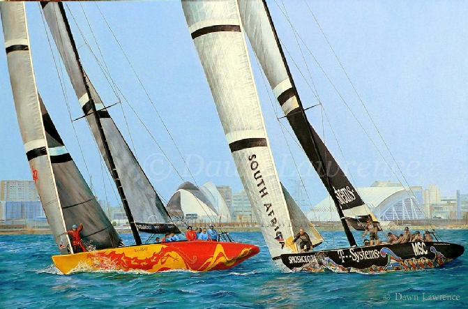 China Team vs Shosholoza off Valencia 2006America's Cup painting by Dawn Lawrence