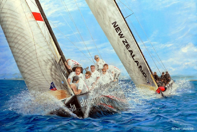 Fly Emirates Beats Alinghi in the 32nd America's Cup, painting by Dawn Lawrence