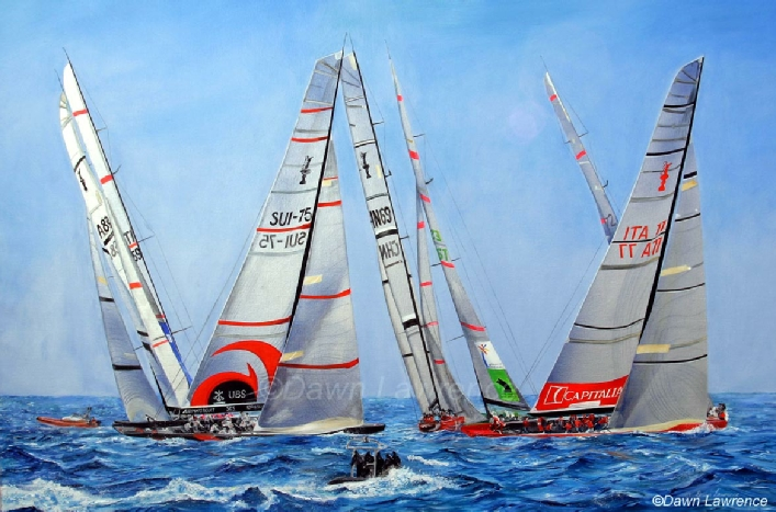 Fleet 2  racing in the America's Cup 2005 off Trapani, painting by Dawn Lawrence with Alinghi, Mascalzone Latino and Desafio Espanol