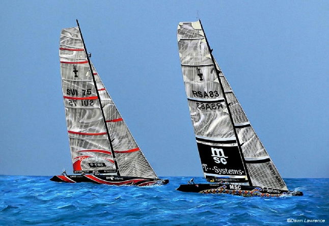 Alinghi Shosholoza mixed media America's Cup painting by Dawn Lawrence