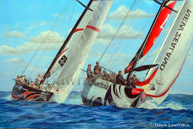 Fly Emirates Beats Alinghi in the 32nd 2007 America's Cup painting by Dawn Lawrence