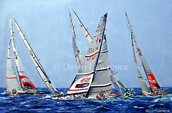 Fleet Racing, Trapani 2005 with Alinghi , Luna Rossa, Desafio Espanol, Fly Emirates & BMW Oracle America's Cup painting by Dawn Lawrence