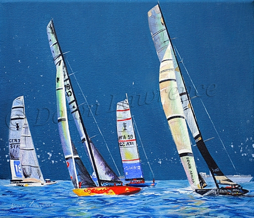 Bright Sails Dark Sky China Team, Shosho;oza 32nd America's Cup, painting by Dawn Lawrence