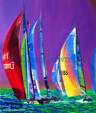 Racing the Rainbow, oil painting by Dawn Lawrence America's Cup art