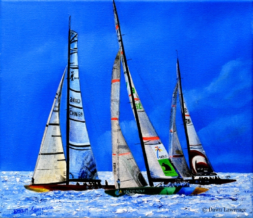 Dancing Sails Dancing Light China Team, desafio Espanol,Shosholoza 32nd America's Cup, painting by Dawn Lawrence