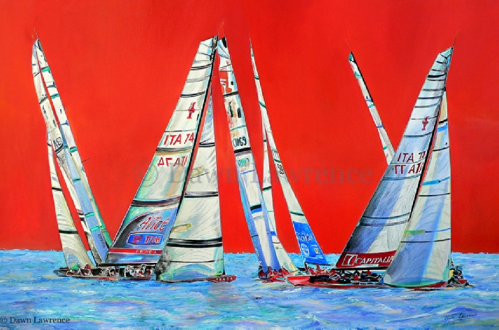 Fleet 2 America's Cup Trapani 2005 America's Cup painting by Dawn Lawrence Luna Rossa Mascalzone Latino