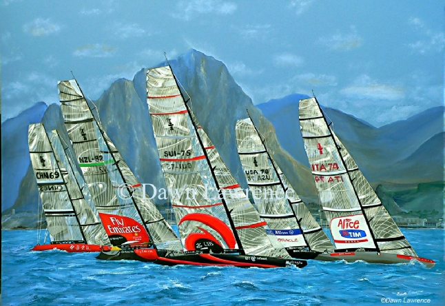 Fleet Racing off Trapani, Sicily Mixed media America's Cup painting by Dawn Lawrence
